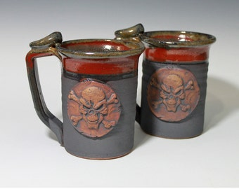 Giant Skull mug, jolly roger stein, handmade pottery, made from scratch, ready to ship