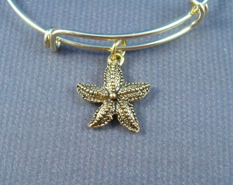 Golden Starfish,  Gold Bangle Bracelet, Trend Inspired Bangle, AAA Quality, Gift For Her