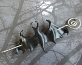 Leather Bat Hair Slide or Shawl Pin with Handcrafted Wire Hairstick - Black, Red, Purple, Burgundy or Pewter - Gothic Gift for Her - Medium