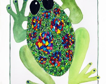 Frog Print, Whimsical Frog Print, Mardi Gras Frog, Frog from the Hidden Bamboo Forest of Saint Paul, Frog Art,