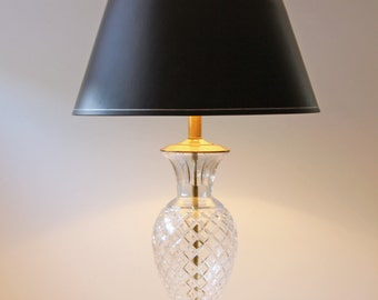 vintage cut glass table lamp diamond shape cut, Hollywood Regency