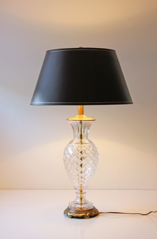Vintage Cut Glass Table Lamp Diamond Shape Cut Hollywood