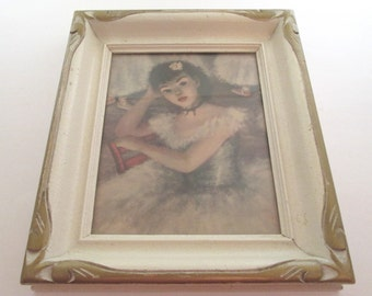 Vintage 8x10 frame, Wood Picture Frame, Huldah, white frame, Paris Apartment, Box frame, wood photo frame, French girl print, framed