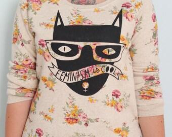 SALE Cool Cat Floral Sweatshirt Size S-XL