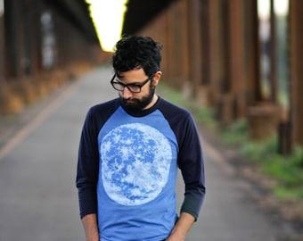 Full moon men's t shirt, unisex baseball tee, men or women, moon screenprint on American Apparel heather blue