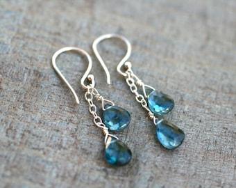 London Blue Topaz Gemstone Double Drop Sterling Silver Earrings, Blue Topaz, Gemstone Jewelry
