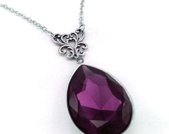 Amethyst Crystal Necklace, Swarovski Elements, Purple Crystal, Victorian Style, Teardrop Pendant, Wedding Bridal, February Birthstone