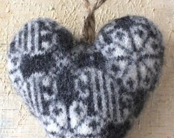 Gray and Cream Heart Valentine Ornament, Valentine Decor, Heart Ornament, Valentine's Day Decor