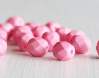25 Matte Bubble Gum Pink 6mm Faceted Czech Glass Fire Polished
