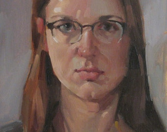 "Sale! ""Self Portrait Sketch no. 2"" Art Painting Portrait 8x10 inch original oil by Sarah Sedwick"