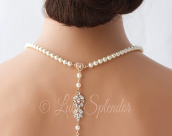 Backdrop Bridal Necklace Rose Gold Pearl Wedding Necklace Delicate Back Drop Swarovski Crystal Wedding Jewelry AMELIA