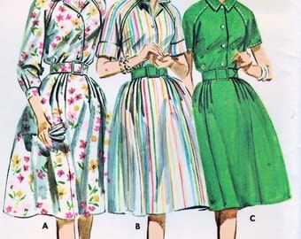 1960s Butterick 2626 Vintage Sewing Pattern Misses Proportioned Shirtwaist Dress Size 12 Bust 32, Size 16 Bust 36