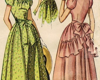 1940s Simplicity 2898 Vintage Sewing Pattern Misses Formal Gown, Prom Dress, Evening Gown Size 14 Bust 32