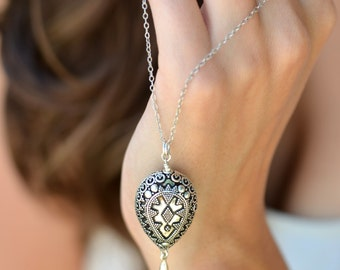 Geometric Bali style Large Bali Teardrop 30 inch sterling silver long necklace gifts for her