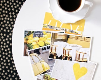 Paris Postcard Set, Yellow Travel Postcards 4x6 Art Print, Apartment Decor, Paris Print, Yellow Art, Stocking Stuffer Gift for Her
