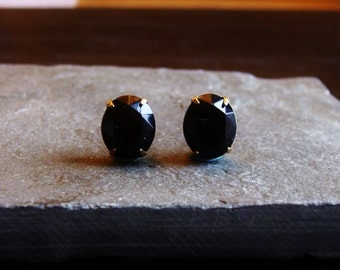 Black stud earrings, black jewel posts, black oval stud, gothic earrings, bridal earrings, holiday gift ideas for her, unique Christmas gift