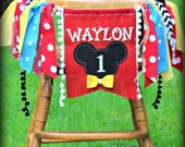 Mickey Mouse Birthday Party Highchair Banner Clubhouse Garland Childrens Name Banner I am One High Chair Burlap First Backdrop Photo
