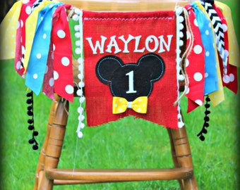 Mickey Mouse Birthday Banner, Clubhouse, Garland, MICKEY, childrens name banner, I am one, high chair burlap first birthday