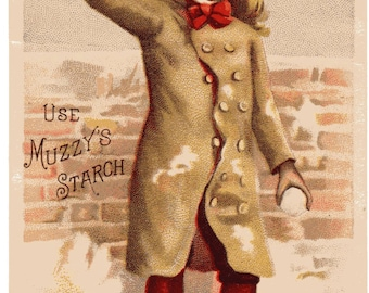 Child Throwing Snowball Use Muzzy's Starch Vintage Advertising Card