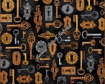 "Robert Kaufman ""Time Machine"" 14455-2 Vintage Skeleton Keys Steampunk Cotton Fabric 1/2 Yard 18"" x 44"""