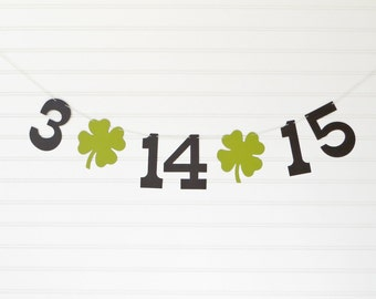 Save the Date Banner - 5 Inch Numbers with 4 leaf Clover - Irish Wedding Banner Save the Date Photo Prop Wedding Date Banner St Patricks Day