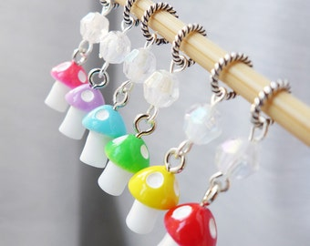 The Dancing Mushrooms - Six Snag Free Stitch Markers - 3.75mm (5 US) - Open Edition