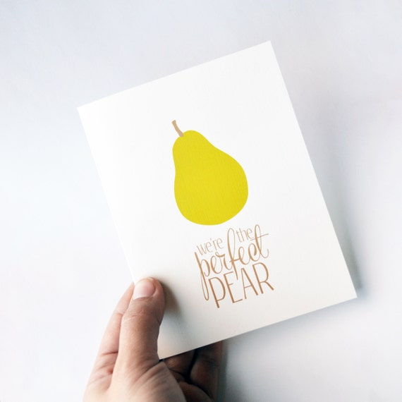 valentines day card, i love you card, anniversary card, card for him, card for her, foodie greeting card, retro card, we're the perfect pear