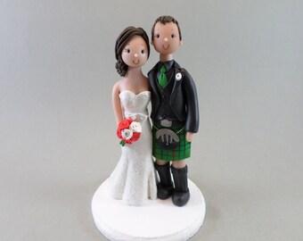 Wedding Cake Topper Customized Scottish Bride & Groom