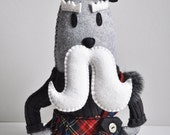 Walrus Art doll Plush -Kincardine Danderhall- Scottish Earl former spy kilt sash hat mustache -hand sewn- As SEEN in STUFFED Magazine -OOAK
