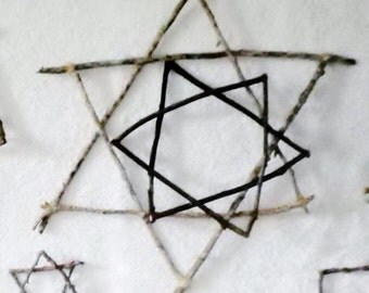 Twig Star of David Handmade Hanukkah Christmas Rustic Decor Branch Cabin Unique Happy OOAK Snowflake Jewish Wooden Rattan Primitive Folk Art