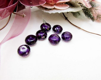 Amethyst 12 x 7 mm Faceted Rondelle Bead 7  Beads Necklace Bracelet Earrings Jewelry Supply #B132