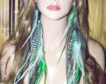 Feather Earrings, Extra Long, 18 inch, Feather Extensions, Feather Extensions Earrings, Emerald Green Natural Feather