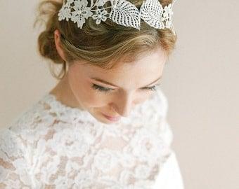 Bridal lace headwrap, grecian headband, bohemian headband, wedding headpiece - style 227