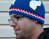 Captain America inspired crochet beanie hat