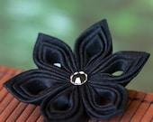 Black silk brooch, black flower brooch, black flower pin, black floral brooch, black floral pin, black silk flower, black silk, UK, handmade