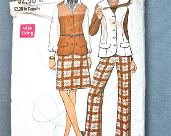 Vintage 1970s VOGUE 7515 Misses' Sleeveless Jacket Vest A-line Skirt Wide Leg Pants Sewing Pattern  Bust 36 inches