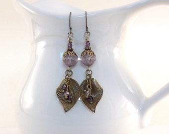 Purple And Brass Earrings - Carved Czech Glass Earrings - Brass Earrings - Antique Brass - Silver Earrings - Crystal Earrings -Wires - E071