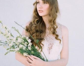 Bridal Hair Vine, Wedding Headband, Bridal Headband, Crystal Beaded Hair Vine, Pearl Headband, Lace Bridal Headpiece, Hair Vine - Style 413