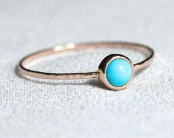 Select a Stone - Delicate Gold Birthstone Cabochon Stacking Ring - Solid 14k Rose Gold Ring - Dainty Birthstone Stack Ring