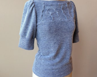 Texture Knit Top with folded detail, cotton jersey, puff sleeves, modern chic- made to order