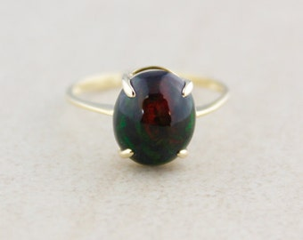 Black Opal Gemstone Ring - 10k Yellow Gold - October Birthstone