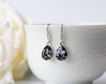 Black Swarovski Teardrop Earrings Crystal Silver Night Cubic Zirconia Silver Dangle Earrings