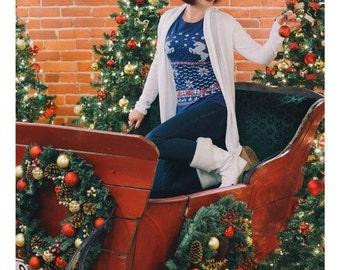 UNICORN T SHIRT ---Womens Unicorn Christmas Sweater t shirt - Snowflake Christmas sweater shirt -- Unicorn ornament Christmas theme shirt