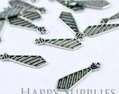 10pcs Antiqued Silver Tie Charm / Pendant (7687)