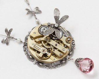 Steampunk Necklace Vintage gold pocket watch silver filigree mystic pink quartz, pearl dragonfly Statement Necklace Steampunk Jewelry