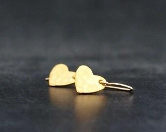 Tiny Gold Heart  Earrings, Little heart Earrings, Vermeil Mini Hearts, Gold Filled Jewelry, Valentine hearts, Valentine gift
