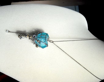 Steampunk Gadget True Blue Captured Heart Pendant Necklace Wire Wrapped