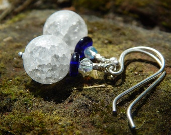 Sapphire Shiver Earrings - Frosty Crackle Quartz Beads w Vintage & New Czech Glass, Karen Hill Tribe Sterling Beads and Sterling Ear Wires