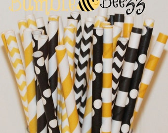 Paper Straws, 25 Bumble Bee Party Paper Straws Mix, Transformer Movie Party Paper Straws, Yellow Paper Straws, Black Paper Straws, Birthday