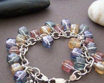 Amara Charm Bracelet - Multi Color Mystic Quartz Cubes with Sterling Silver
